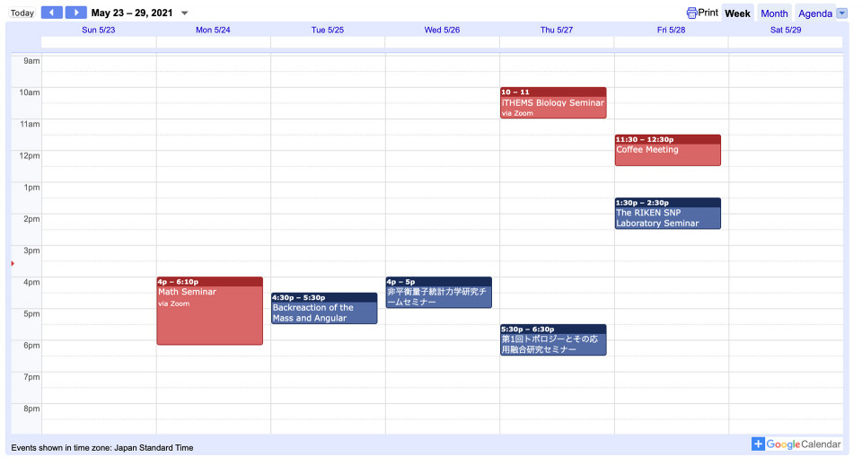 Events for the 5th week of May 2021