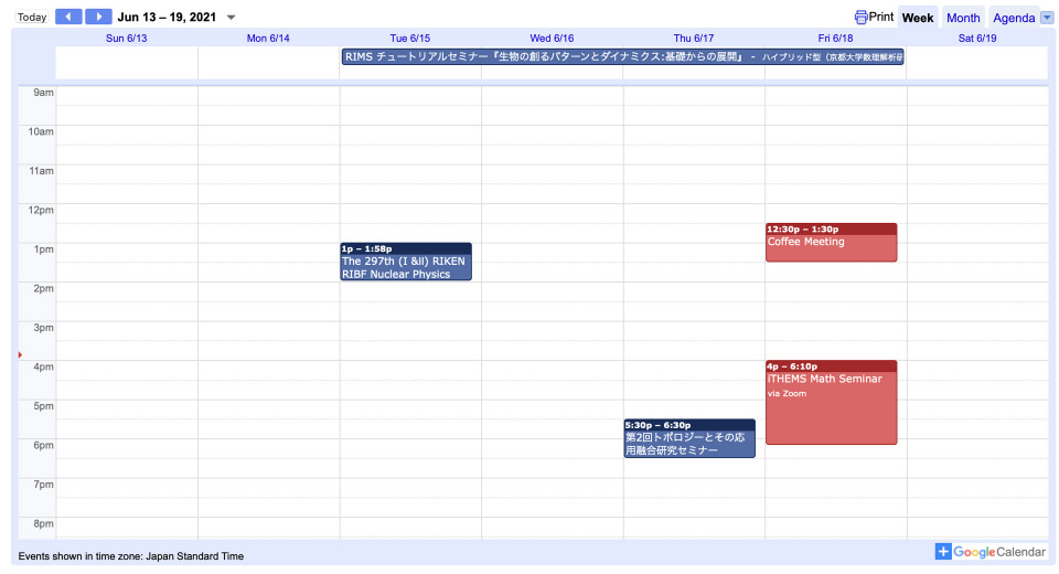 Events for the 3rd week of June 2021