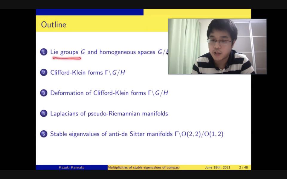 Math Seminar by Dr. Kazuki Kannaka on June 18, 2021 image